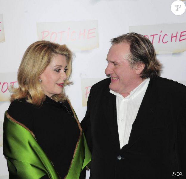 Gérard Depardieu et Catherine Deneuve lors de l'avant-première de Potiche le 2 novembre 2010
