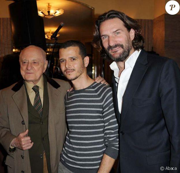 Prix de Flore 2010, le 4 novembre 2010 : Pierre Bergé, Frédéric Beigbeder et le lauréat Abdellah Taïa