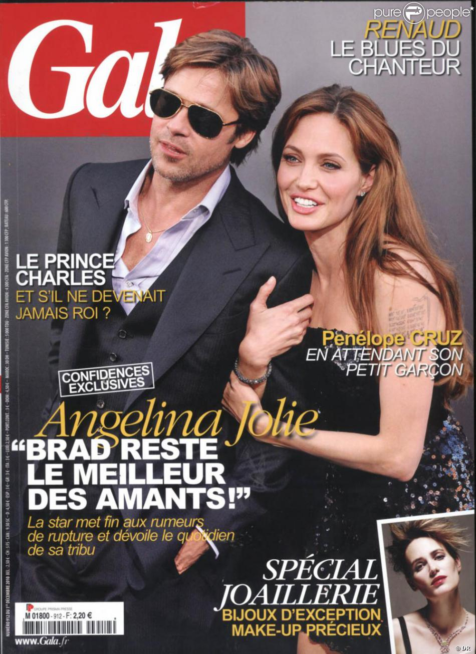 angelina jolie et brad pitt en couverture de gala en. Black Bedroom Furniture Sets. Home Design Ideas