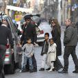 Brad Pitt et Angelina Jolie et leurs enfants Pax, Maddox et Zahara