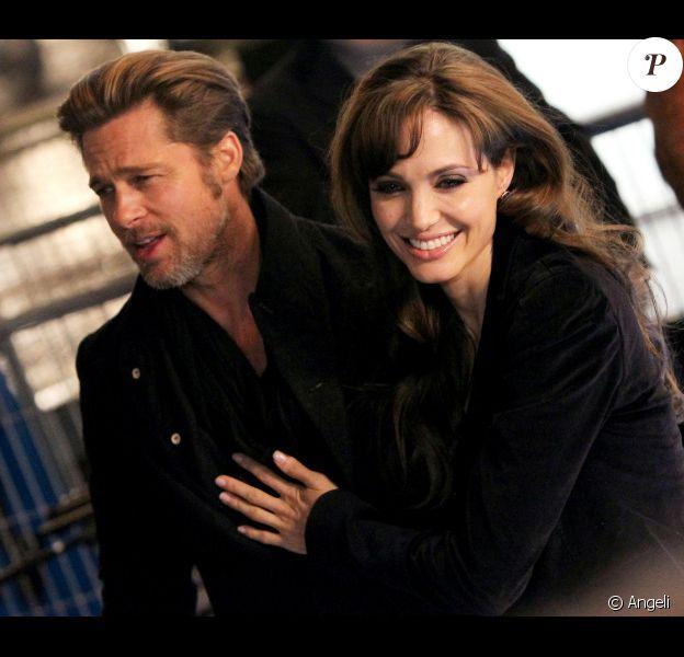 Angelina Jolie et Brad Pitt lors de l'avant-première à Paris de Megamind le 29 novembre 2010