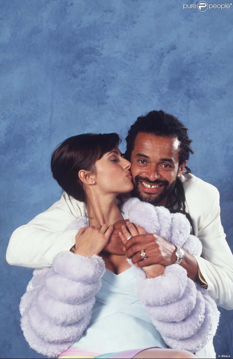 Yannick Noah et Heather Stewart,Whyte à leur mariage, février 1995.