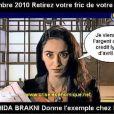 Rachida Brakni dans sa pub détournée par www.crise-économique.net