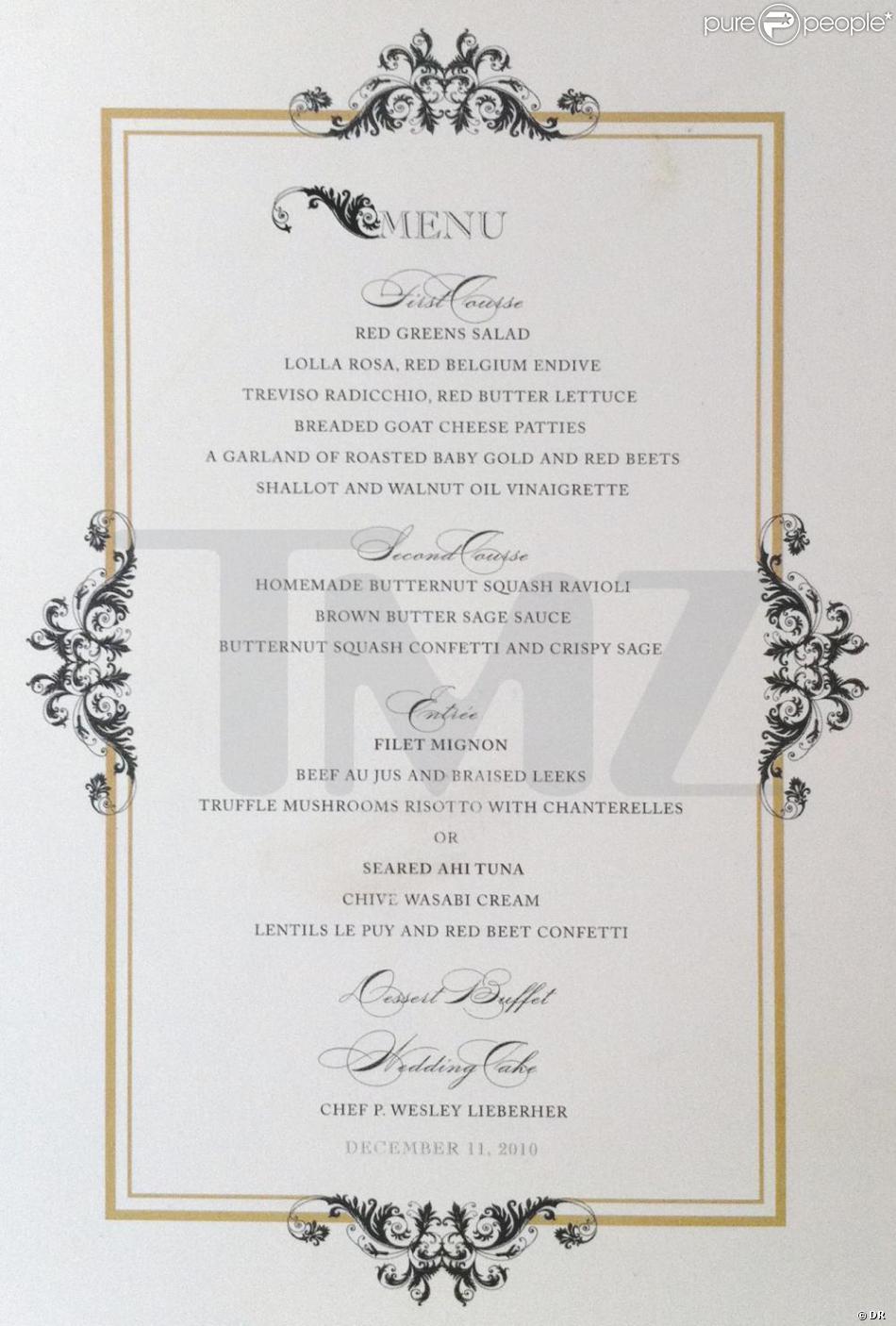 Super Menu du mariage de Nicole Richie GC51