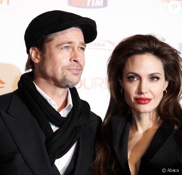 Angelina Jolie et Brad Pitt à l'occasion de l'avant-première italienne de The Tourist, au Space Cinema de Rome, le 15 décembre 2010.