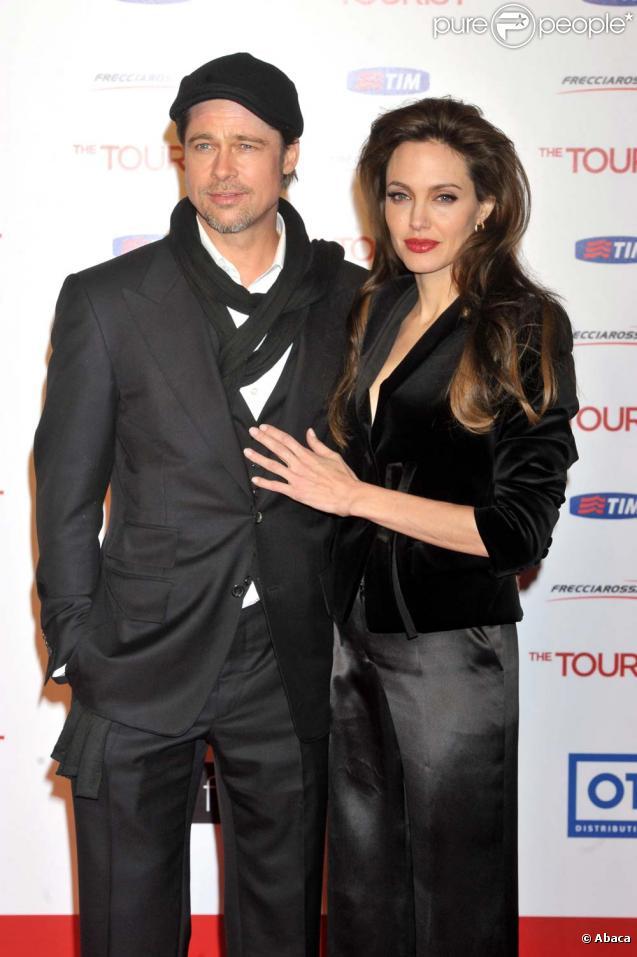 Brad Pitt et Angelina Jolie, Rome, 15 décembre 2010