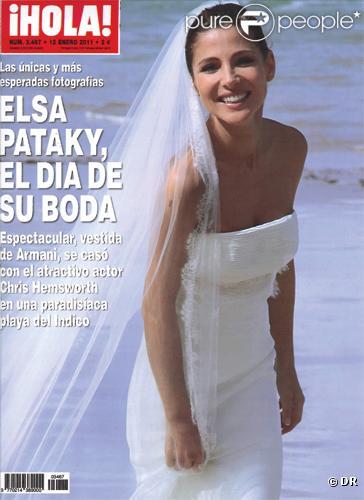 Elsa Pataky en couverture de Hola pose en robe de mariée