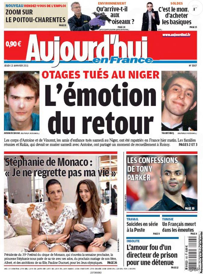 la couverture du parisien aujourd 39 hui en france du jeudi 13 janvier 2011. Black Bedroom Furniture Sets. Home Design Ideas