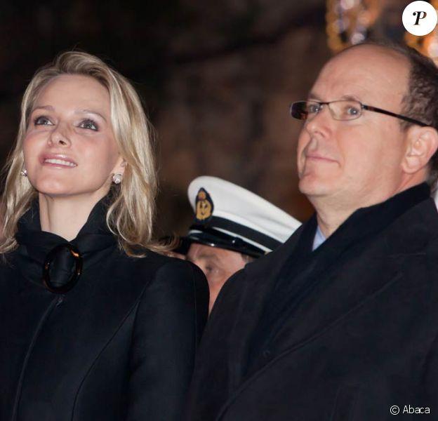 Charlene Wittstock et le prince Albert durant les célébrations de la Sainte-Dévote, le 26 janvier 2011.