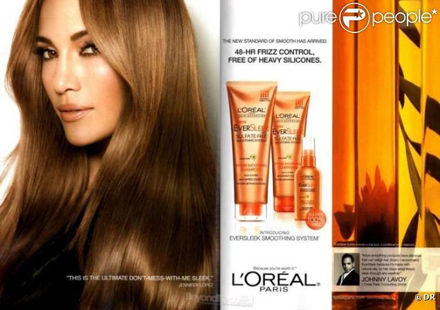 Jennifer Lopez égérie L'Oréal pour la gamme capillaire EverSleek et la gamme cosmétique Infallible.