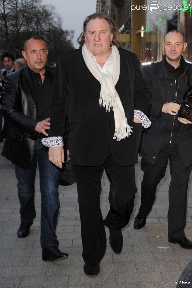 Gérard Depardieu à l'occasion de l'avant-première de  Je n'ai rien oublié , au Publicis, à Paris, le 28 mars 2011.