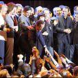 Nicolas Sarkozy fête sa victoire entouré de toutes ses amis politiques, people, et sa famille, sur la place de la Concorde, le 6 mai 2007.