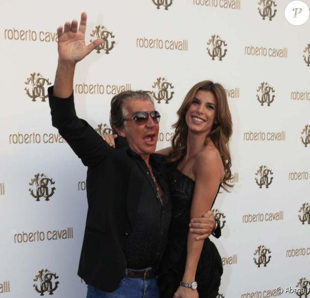 Roberto Cavalli et Elisabetta Canalis à l'inauguration de la boutique Cavalli à Cannes, le 18 mai 2011.