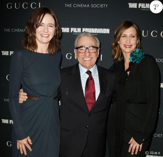 Martine Scorsese très bien entouré des ravissantes Emily Mortimer et Vera Farmiga à la soirée organisée par la Société du Cinéma et Gucci à New York, le 1er juin 2011