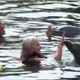 Loana et Brandon avec les dauphins dans les Anges de la télé-réalité 2 : Miami Dreams, sur NRJ 12 le 21 juin 2011.