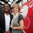 Anthony Kavanagh et Natacha Amal participent aux festivités du 30e anniversaire du TGV, à Paris-Gare de Lyon, jeudi 7 juillet 2011.