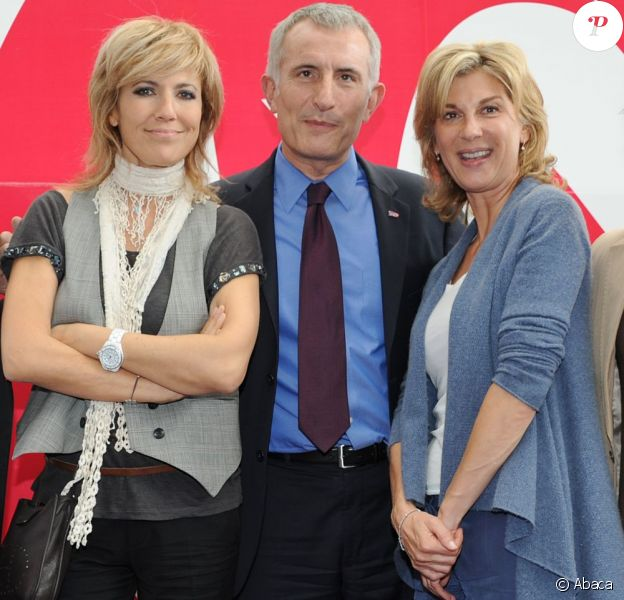 Natacha Amal et Michèle Laroche (avec Guillaume Pepy de la SNCF) participent aux festivités du 30e anniversaire du TGV, à Paris-Gare de Lyon, jeudi 7 juillet 2011.