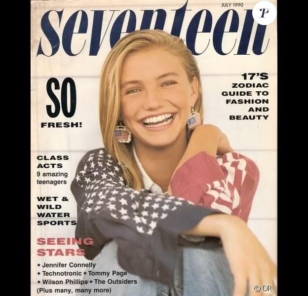 Cameron Diaz à tout juste 18 ans apparaît en couverture du magazine pour ados Seventeen. Juillet 1990.