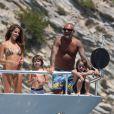 Christian Audigier, sa chérie Nathalie et ses fils en vacances à Ibiza le 30 juillet 2011