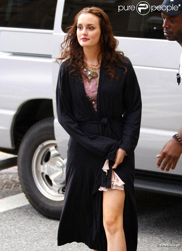 Leighton Meester sur le tournage de Gossip Girl le 10 août 2011 à New York