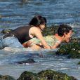 """""""Halle Berry fête ses 45 ans dans une folle ambiance sur une plage de Malibu avec sa fille Nahla, son petit ami Olivier Matinez, et tous ses amis. Le 14 août 2011"""""""