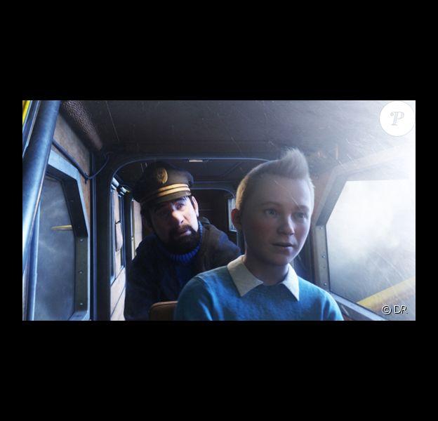 Tintin et le capitaine Haddock dans le long métrage de Spielberg, Les Aventures de Tintin : le secret de la licorne, en salles le 26 octobre 2011