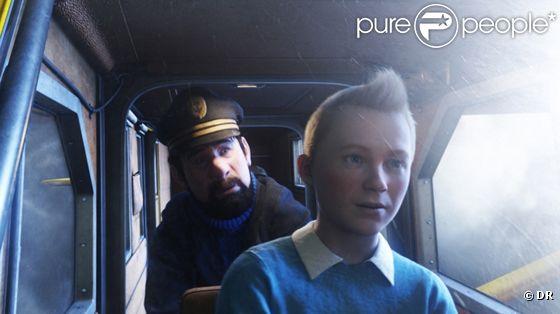Tintin et le capitaine Haddock dans le long métrage de Spielberg,  Les Aventures de Tintin : le secret de la licorne , en salles le 26 octobre 2011