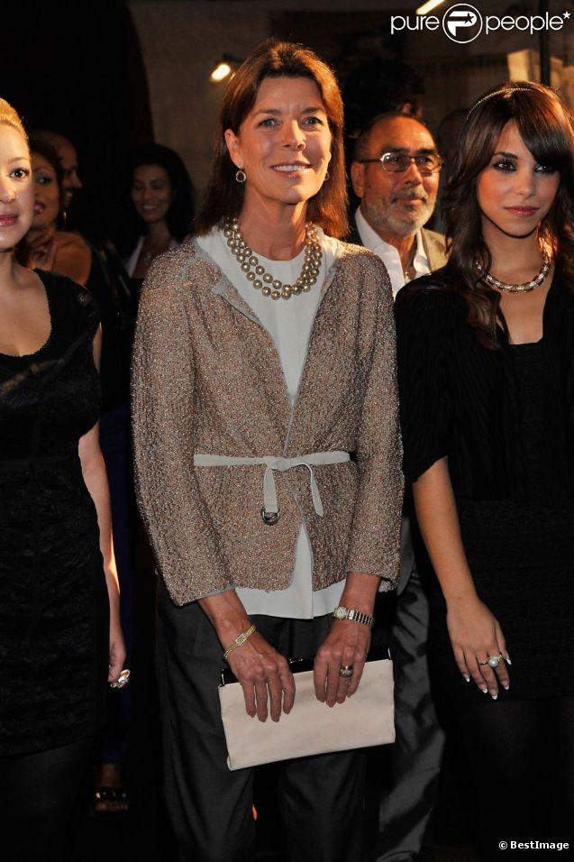 Caroline de Monaco assiste au lancement de l'exposition Afternativelight, à Monaco, le 20 septembre 2011.