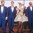 Luc Besson, Jean-Marc Barr, Rosanna Arquette et Jean Reno pour le Grand Bleu à Cannes en mai 1988.