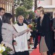 Charlene de Monaco lors du centenaire de la paroisse Saint-Martin, à Monaco, le 13 novembre 2011.