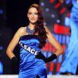Delphine Wespiser, en robe de soirée, lors de l'élection de Miss France 2012, le samedi 3 décembre 2011.