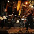 Johnny Hallyday, pendant l'enregistrement de son concert privé à la Tour Eiffel, le samedi 3 décembre 2011.