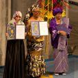 """La présidente libérienne Ellen Johnson Sirleaf, sa compatriote Leymah Gbowee et la Yéménite Tawakkol Karman, figure de proue du """"printemps arabe"""" lors de la remise des prix Nobel de la Paix à Oslo en Norvège le 10 décembre 2011"""