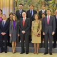 Juan Carlos d'Espagne, assisté de la reine Sofia, du prince Felipe et de la princesse Letizia, recevait en audience le Conseil du Patrimoine National, au palais de la Zarzuela, le 20 décembre 2011.
