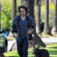 """""""Ben Affleck court avec son chien, le 2 janvier 2012 à Los Angeles"""""""