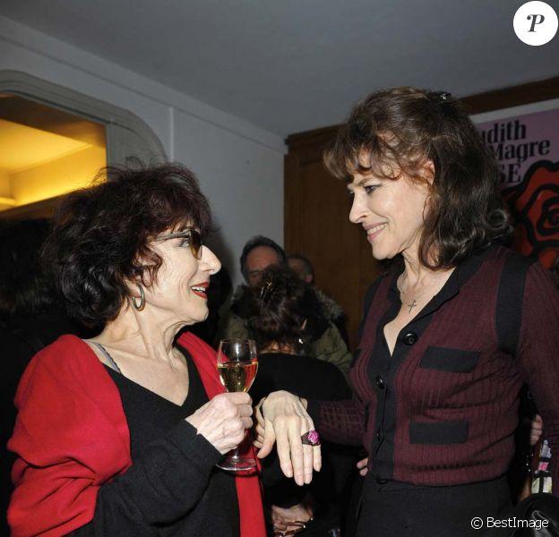 Judith Magre et Fanny Ardant lors de la générale de la pièce Rose, à La Pépinière Théâtre, le 10 janvier 2012.