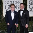 Elton John et David Furnish aux Golden Globes, le 15 janvier 2012 à Los Angeles.