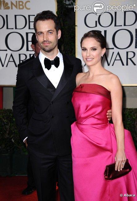 Natalie Portman et Benjamin Millepied aux Golden Globes, le 15 janvier 2012 à Los Angeles.