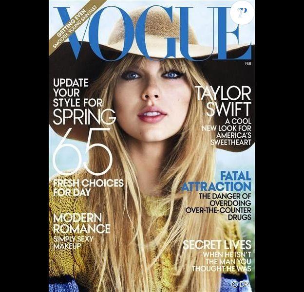 Taylor Swift fait la une du magazine Vogue de février 2012, habillée par Rodarte.