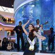Delphine Wespiser : danse orientale pour la Miss France 2012, jeudi 12  janvier 2012 en visite dans le prestigieux Morocco Mall de Casablanca au  Maroc