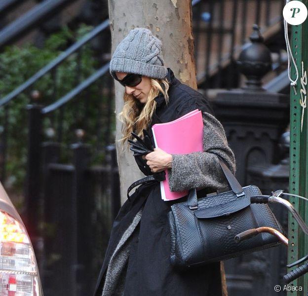 Sarah Jessica Parker quitte son domicile à New York, le 19 janvier 2012.