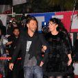 Christophe Maé et sa femme Nadège ont quitté leur repaire pour apparaître sur le tapis rouge de la 13e édition des NRJ Music Awards, au palais des festivals de Cannes, le 28 janvier 2012.