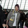 M. Pokora arrive à l'aéroport de Nice, le 29 janvier 2012