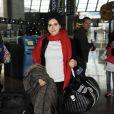 Joyce Jonathan arrive à l'aéroport de Nice, le 29 janvier 2012