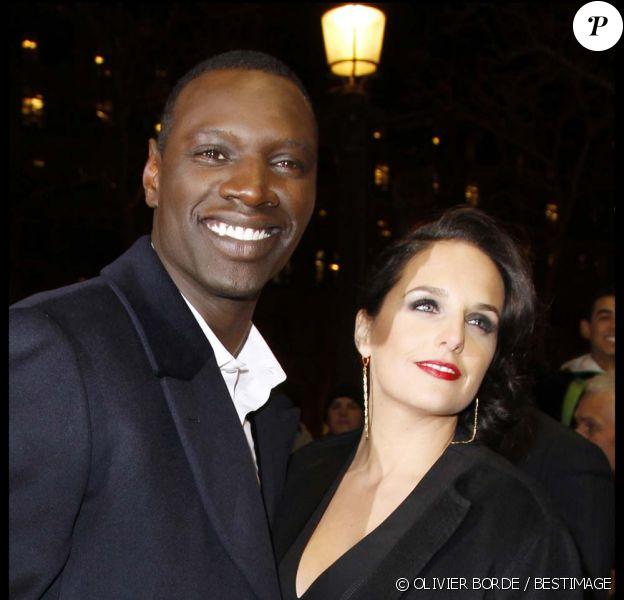 Omar Sy et sa femme Hélène à la cérémonie des Globes de Cristal, au Lido à Paris, le 6 février 2012.
