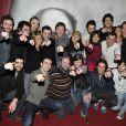 Pierre Palmade entouré des comédiens de son atelier, à la Gaîté Montparnasse, le 16 janvier 2012.