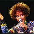 Whitney Houston en concert à Rotterdam, le 27 septembre 1991.