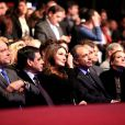 Alain Juppé, Carla Bruni-Sarkozy, entre François Fillon et Jean-François Copé, Nathalie Kosciusko-Morizet et Brice Hortefeux au grand meeting marseillais de Nicolas Sarkozy, le 19 février 2012.