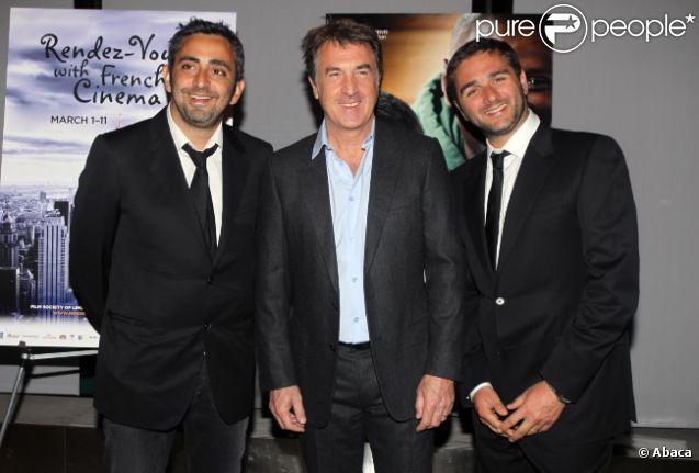 Eric Toledano, François Cluzet et Olivier Nakache lors de l'ouverture du festival Rendez-vous with French Cinema avec la projection d'Intouchables le 1er mars 2012 à New York