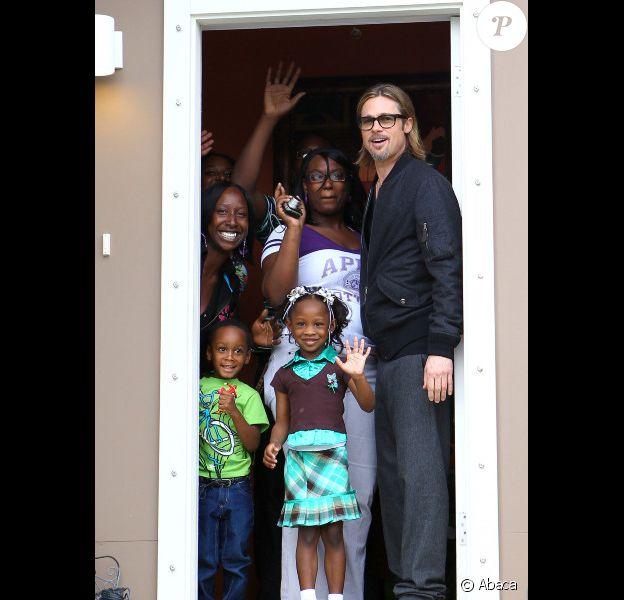 Brad Pitt à la Nouvelle-Orléans, le 9 mars 2012. L'acteur travaille sur  Make It Right, son projet humanitaire de reconstruction d'un quartier  détruit par l'ouragan Katrina.
